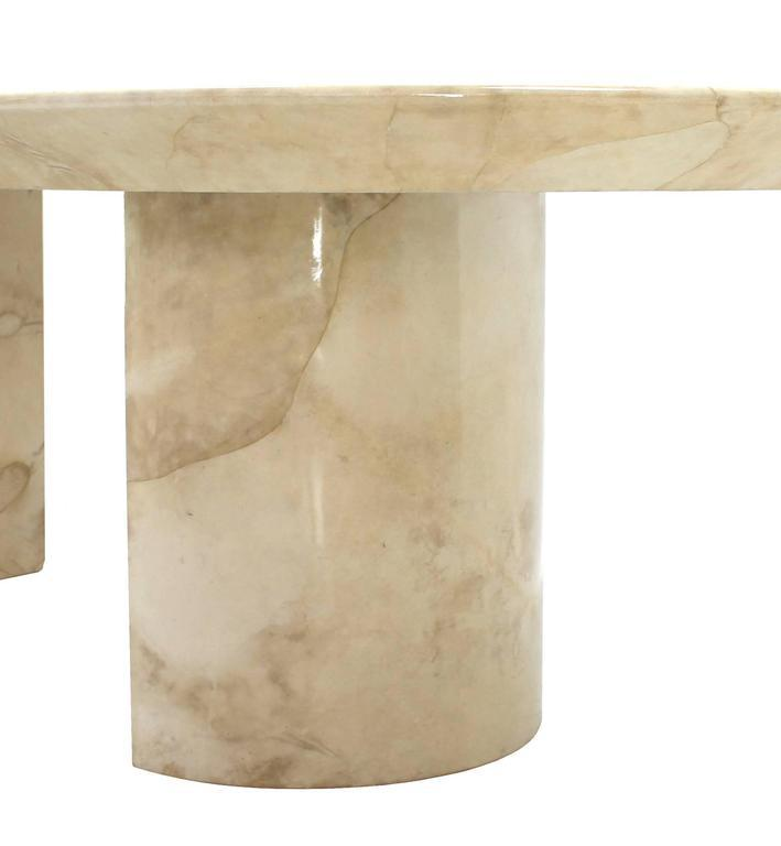 Goatskin Parchment Two Pedestal Oval Dining Table   Image 6 Of 8