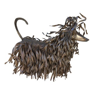 1990s Brutalist Afghan Hound Torch Cut Life Sized Metal Dog Sculpture For Sale