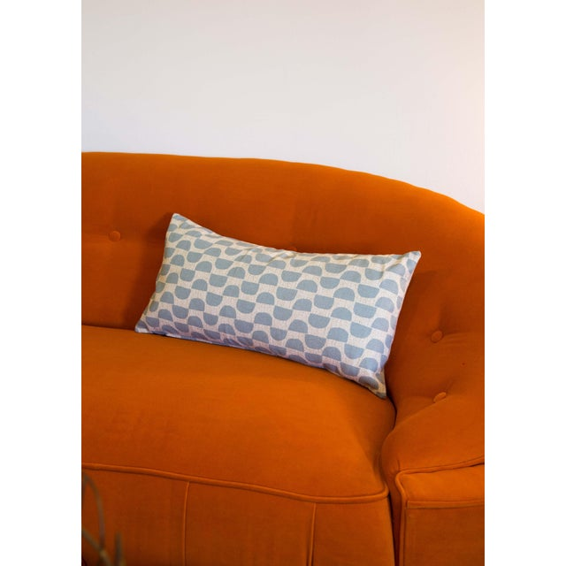 2010s Half Moon Patterned Blue Lumbar Pillow For Sale - Image 5 of 8