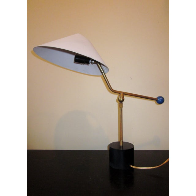1950s Angular French Modernist Counterweight White UFO Shade Desk Lamp For Sale - Image 10 of 13