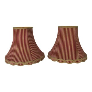 1960's Red & Gold Silk Lamp Shades - A Pair