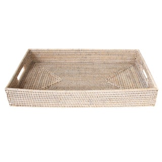 Artifacts Rattan Rectangular Tray With Cutout Handles For Sale