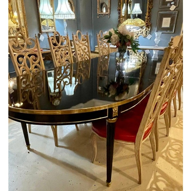 Maison Jansen Ebony Dining Table, Louis XVI Style W Bronze Mounts & Three Leaves For Sale In New York - Image 6 of 13