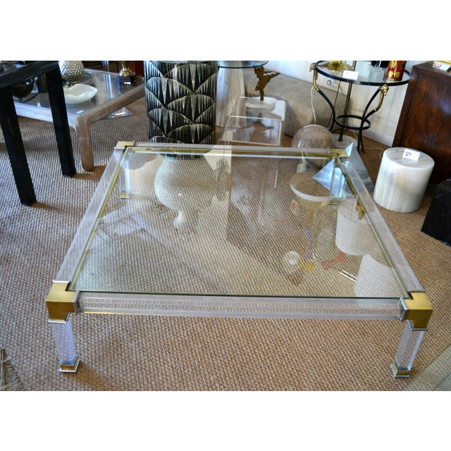 Early Charles Hollis Jones Hollywood Regency Acrylic Bronze & Chrome Glass Table For Sale - Image 10 of 13