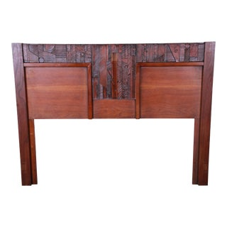 Lane Pueblo Brutalist Mid-Century Modern Oak Queen Size Headboard, 1970s For Sale