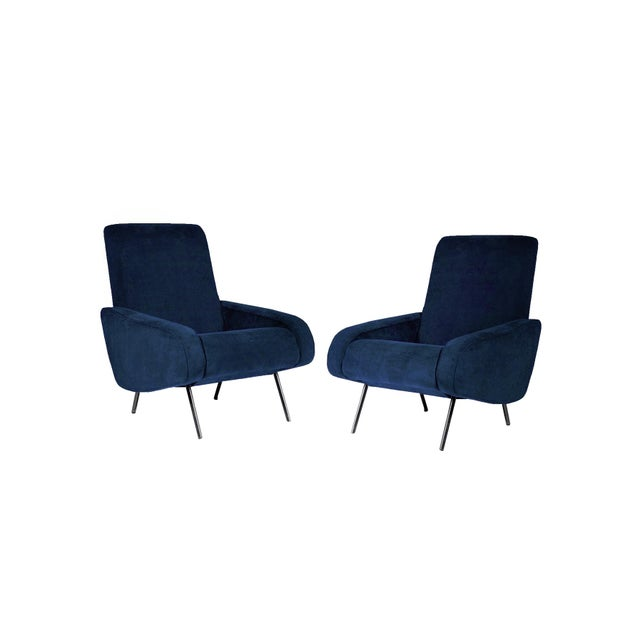 1950s 1950's Italian Armchairs Reupholstered in Slate-Blue Velvet - a Pair For Sale - Image 5 of 5