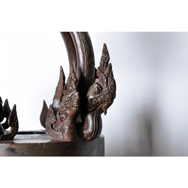 Bronze Bronze Thai Temple Bell with Engraving For Sale - Image 7 of 10
