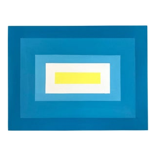 "Max & Alma Wolf Original ""Azul to Canary"" Abstract Mid-Century Modern Acrylic Painting For Sale"