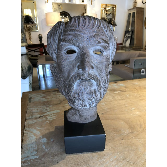 Hellenic Style Plaster Bust on Stand For Sale - Image 13 of 13