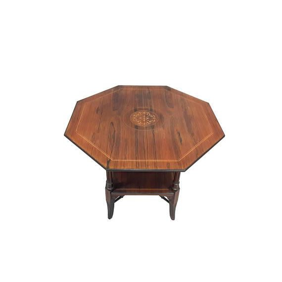 Edwardian English Inlaid Rosewood Table A For Sale - Image 3 of 9
