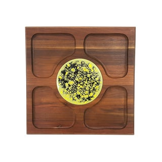Mid-Century Modern Cheese Appetizer Tray Solid Walnut and Green Ceramic Tile For Sale