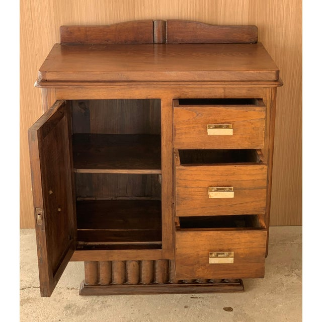 Pair of Spanish Art Deco Heavily Hand Carved Bedside Tables Nightstands, 1920s For Sale - Image 4 of 13