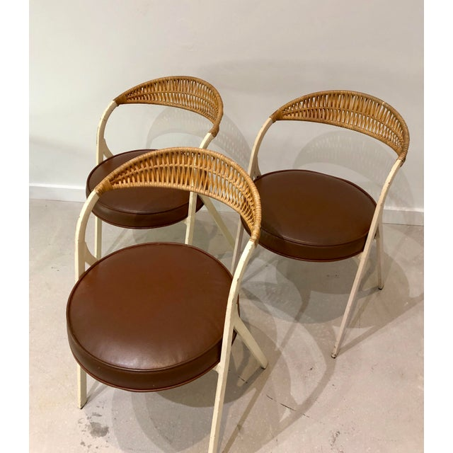 1960s Vintage Arthur Umanoff for Shaver Howard Painted Wrought Iron and Rattan Dining Chairs- Set of 3 For Sale - Image 13 of 13