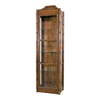Weiman Hollywood Regency Campaign Style Faux Bamboo Narrow Lighted Display Cabinet For Sale