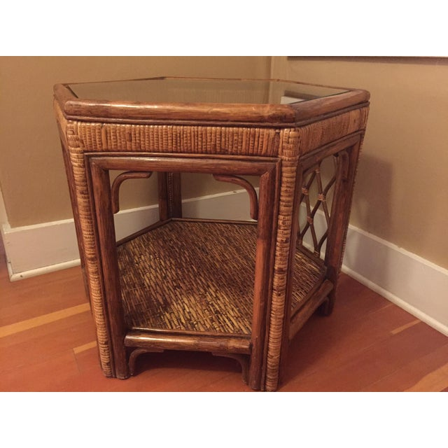 Boho Woven Rattan Side Table - Image 4 of 7