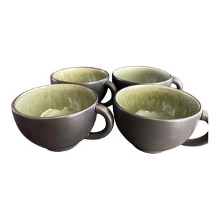 Jars, France Studio Pottery Style Mottled Green W Black Matte Coffee Cups - Set of 4 For Sale