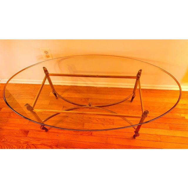 Hollywood Regency Hollywood Regency La Barge Style Solid Brass and Glass Coffee Table For Sale - Image 3 of 7