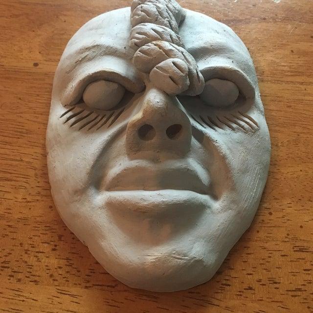 Folk Art Vintage Outsider Clay Art Human Face Sculpture For Sale - Image 3 of 7