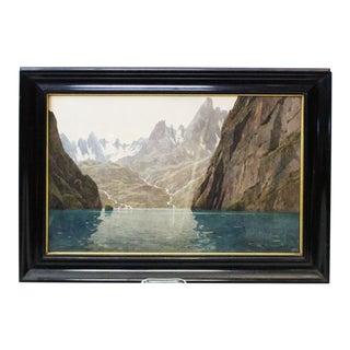 Zeno Diemer Glacier Scene Gouache Painting For Sale