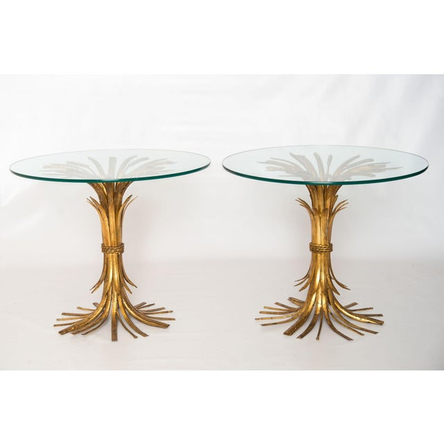 Gold Sheaf of Wheat Side Tables - Pair - Image 3 of 3