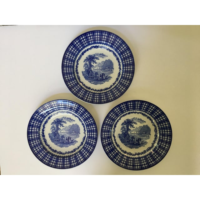 Antique Blue Rimmed Bowls in Breadalbane Pattern - Made in Cauldon, England - Set of Three For Sale - Image 11 of 12