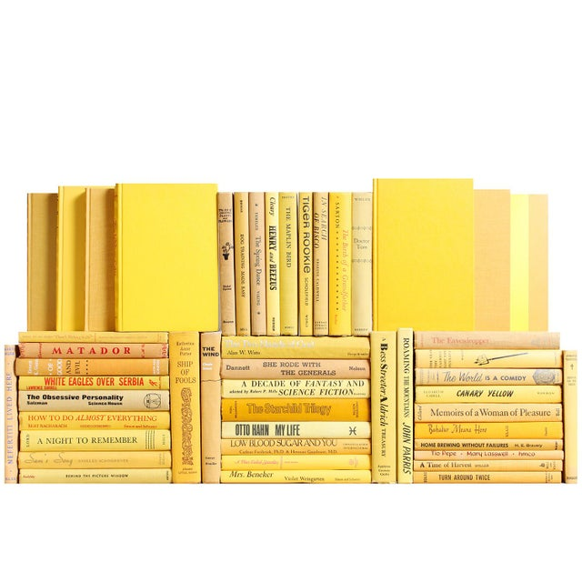 Boho Chic Midcentury Yellow Book Wall - Set of Fifty Yellow Decorative Books For Sale - Image 3 of 4