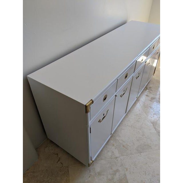 Drexel Accolade campaign credenza. Professionally sprayed in a gloss white enamel. All major scratches, dents and heavy...