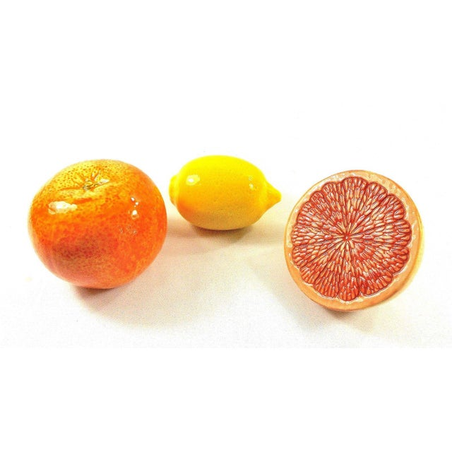 Grapefruit, Orange & Lemon Ceramic Fruit - Set of 3 For Sale In Chicago - Image 6 of 13