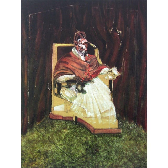 Abstract Expressionism (after) Francis Bacon Portrait Pope Innocent X, Limited Edition Foundation Maeght Offset Lithograph 1995 For Sale - Image 3 of 3