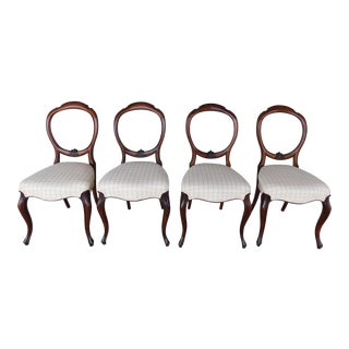 Antique French Victorian Side Chairs - Set of 4 For Sale