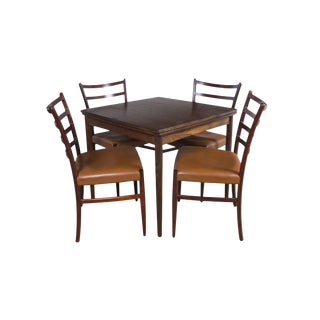 Rosewood Game Table & 4 Chairs For Sale