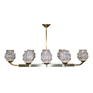 1950s Mid-Century French Oversize Brass Chandelier in Brass with Original Glass Shades For Sale