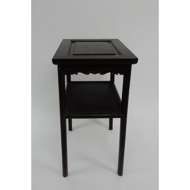 Wood Antique Chinese Zitan Two-Tier Wood Side Table For Sale - Image 7 of 11