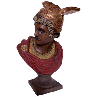 Italian Hand Carved Wood Bust of Mercury For Sale