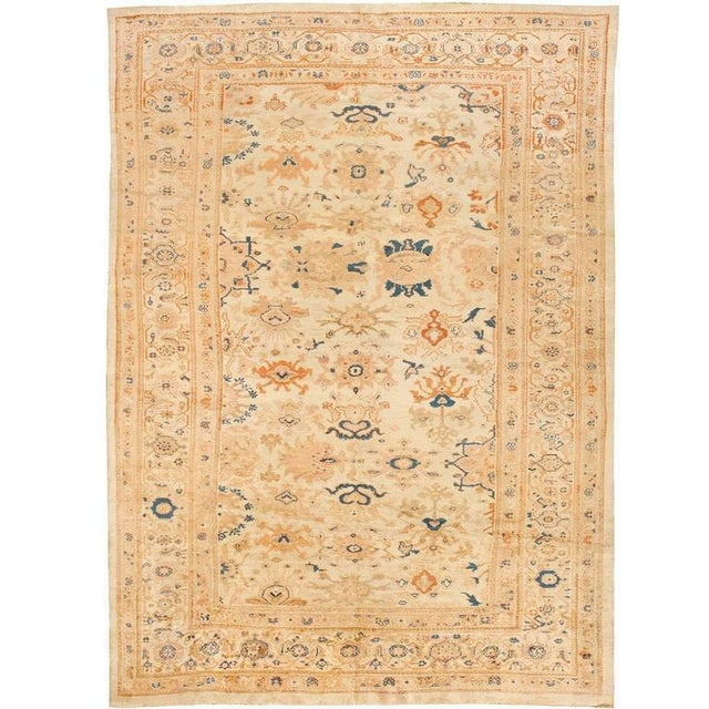 "Exceptional antique 19th century Persian Sultanabad carpet, ""Contact Dealer"" button. Excellent condition."