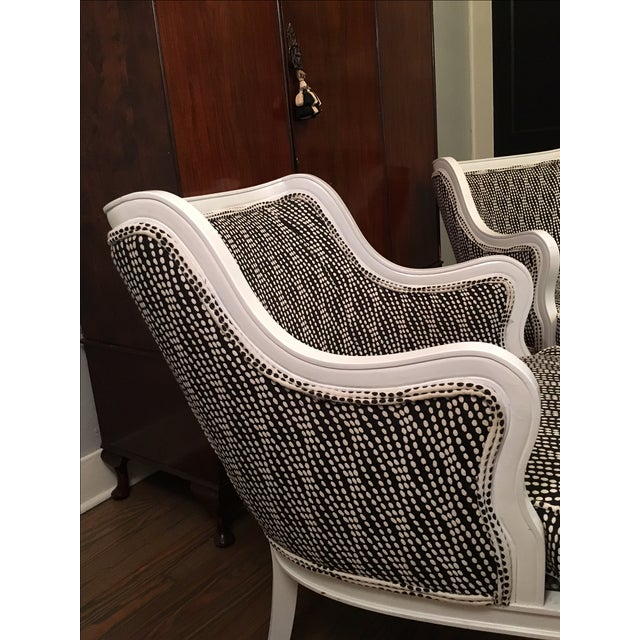 Louis XVI Lacquered Black and White Chairs - Pair - Image 5 of 6