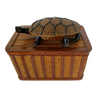 Chinese Wicker, Bamboo & Wood Box For Sale