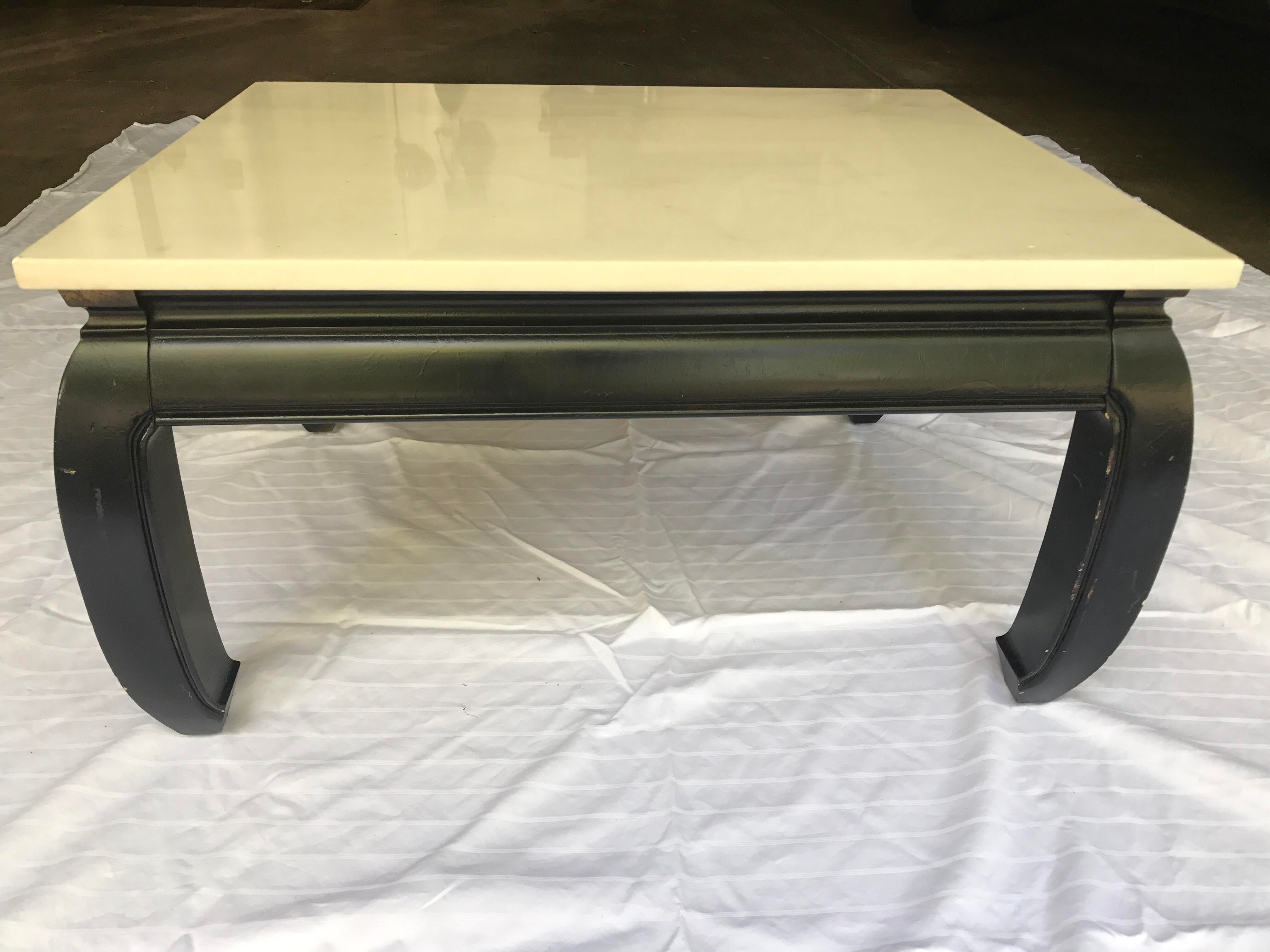 Black Karl Springer Inspired Asian Style Coffee Table With Beautiful White Marble  Top. Marble Top