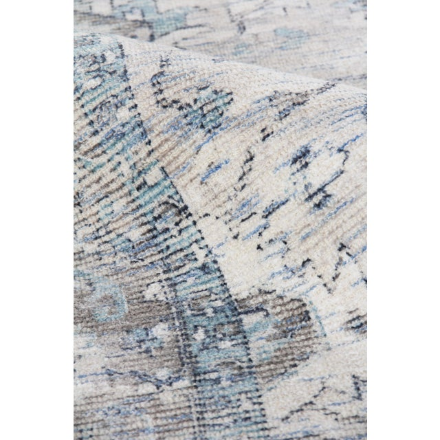 2020s Exquisite Rugs Biron Handmade Wool & Viscose Beige & Blue - 8'x10' For Sale - Image 5 of 9