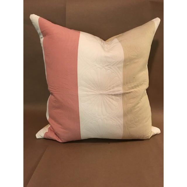 Boho Chic Pillow in Pierre Frey Pink and Cream Stripes For Sale In Raleigh - Image 6 of 6