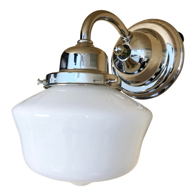 Hudson Valley School House Milk Glass Shade & Nickel Wall Sconce For Sale