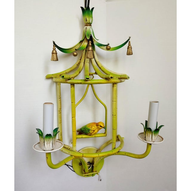 1980s Faux Bamboo Tole Pagoda With Songbird Sconces - a Pair For Sale - Image 5 of 10