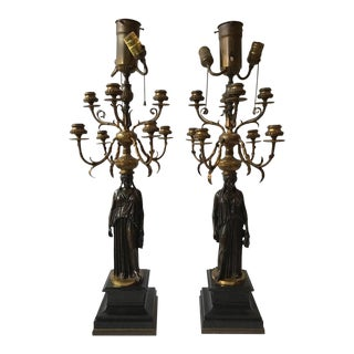 Pair of 1880s French Bronze Candelabra Lamps by Ferdinand Barbedienne For Sale