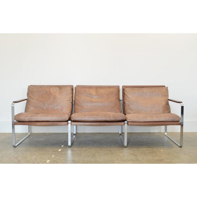 Fabricius & Kastholm three-seater sofa in original brown leather (rare to find in brown).