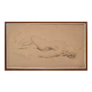 Signed Pasard Eta French Mid-Century Modern Framed Pencil Painting Nude Woman For Sale
