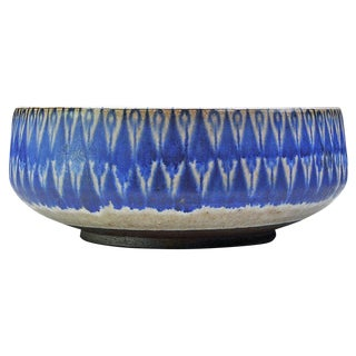 Mid-Century Large Peacock Bowl by Thomas Toft Danish Studio Pottery Denmark For Sale