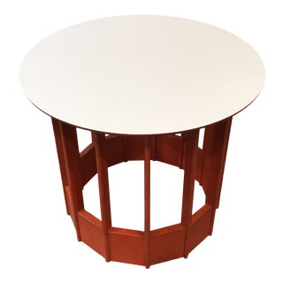 Colorful Orange and White Round Top Side Table With Structural Wood Base For Sale
