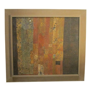"Original Listed Artist Max Papart Paris Gouache Collage on Panel Signed & Titled ""Estival"" 1965 For Sale"