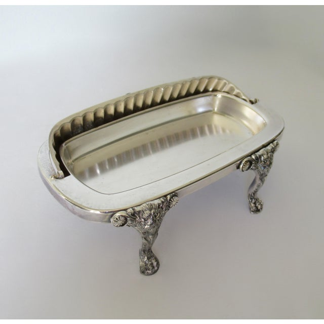 Copper Wm. Rogers Silver Plate Platform Claw Footed Domed Butter Dish -2 Pieces For Sale - Image 8 of 13