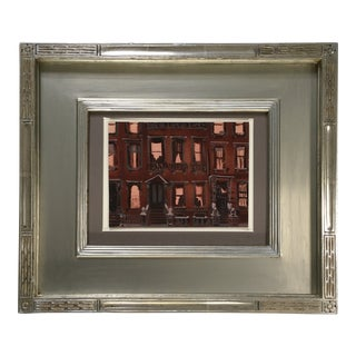 Mid-Century Painting of a Brownstone Building For Sale